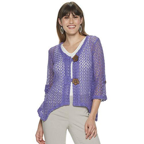 Women's Nina Leonard Open-Weave Crochet Bolero