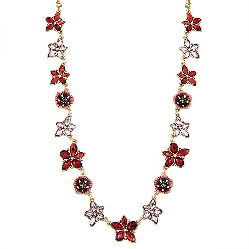 Napier 16-in. Flower Collar Necklace - Gold/Mink Multi
