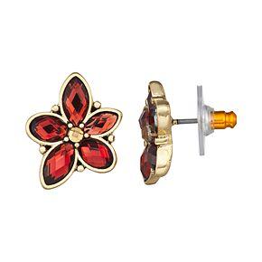 Napier Stone Flower Button Post Earrings - Gold/Mink Multi