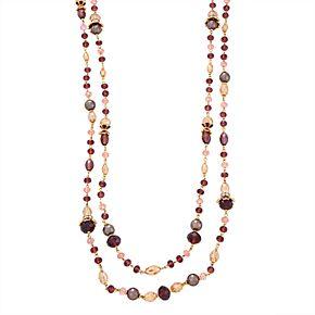 Napier 42-in. Flower Strandage Necklace - Gold/Mink Multi