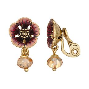 Napier Flower Drop Clip-On Earrings - Gold/Mink Multi
