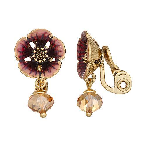 Napier Flower Drop Clip-On Earrings - Gold/Mink Multi