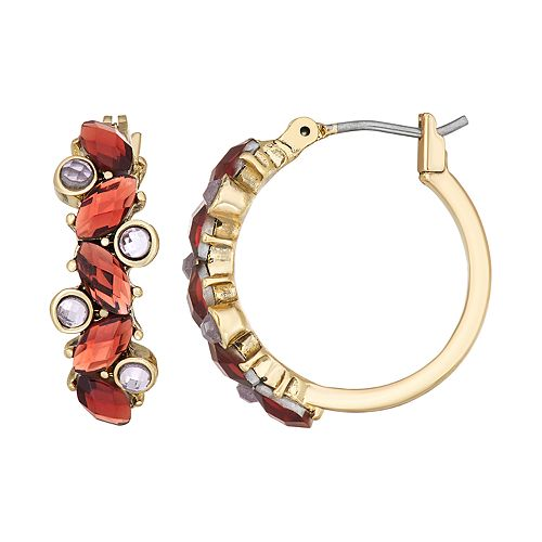 Napier Gold Toned Simulated Crystal Click It Hoop Earrings