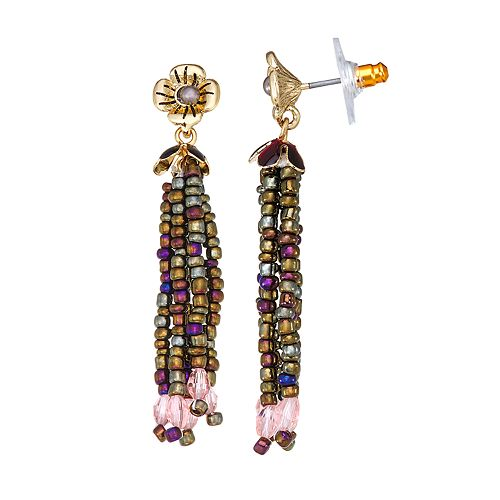 Napier Gold Toned Multi Bead Tassel Drop Earrings