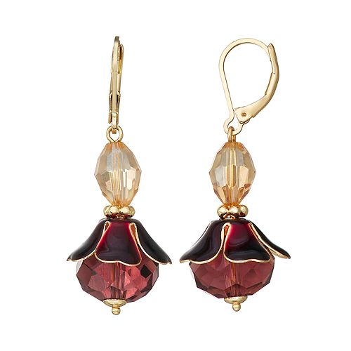 Napier Gold Toned Red Flower Drop Earrings