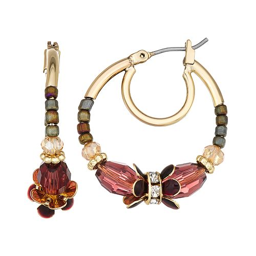 Napier Gold Toned Multi Beaded Medium Click It Hoop Earrings