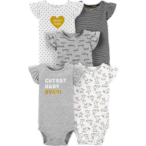 Baby Girl Carter's 5-Pack Flutter-Sleeve Bodysuits