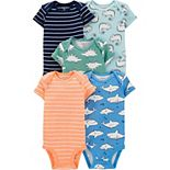 Baby Carter's 5-Pack Animal & Striped Bodysuits