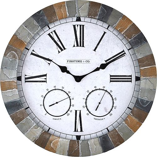 FirsTime & Co. Faux Garden Stone Wall Clock