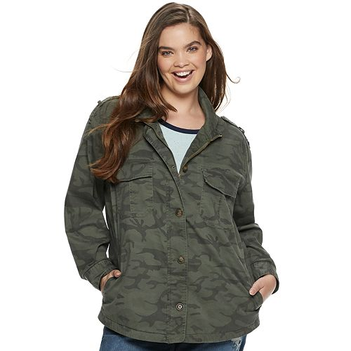 Juniors' Plus Size Unionbay Miranda Twill Utility Jacket