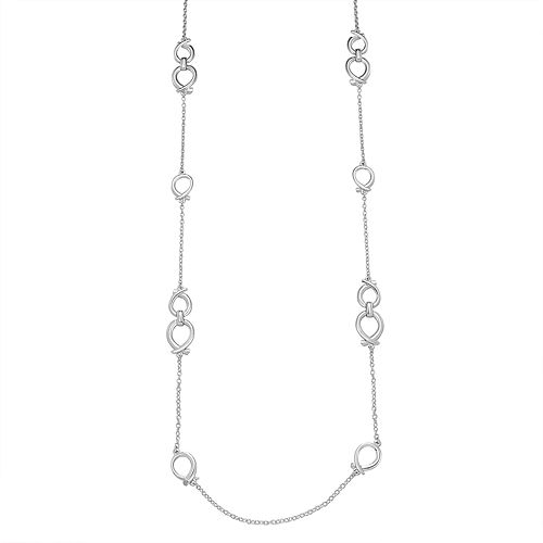"Napier Silver Toned 42"" Circle Strandage Chain Necklace"
