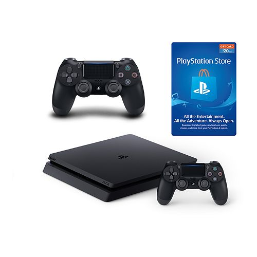 Sony PlayStation 4 1TB Slim console with 2 DualShock 4 Controllers & $20 PS Store Gift Card