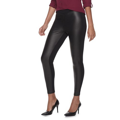 Women's Utopia by HUE Ponte and Leather Leggings
