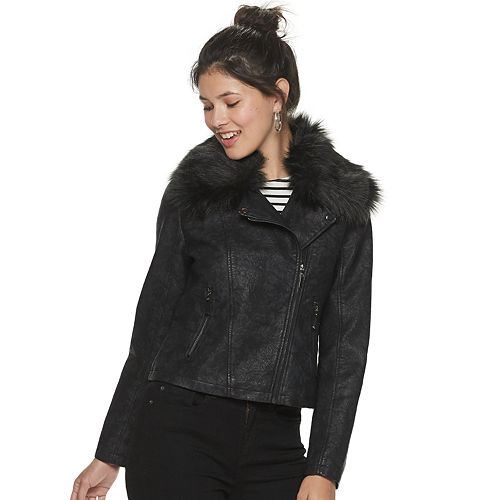 Juniors' Jou Jou Kensington Vegan Leather with Faux-Fur Collar