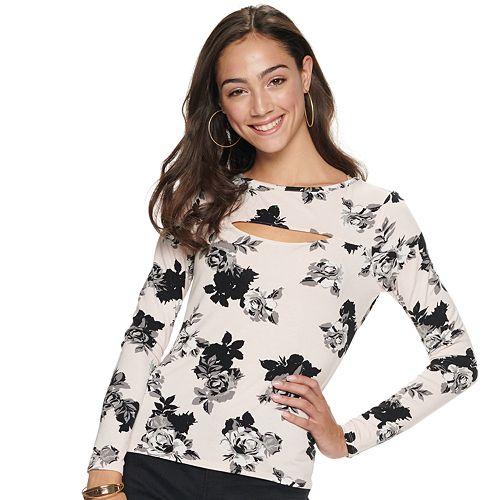 Juniors' Candie's® Cutout Long Sleeve Flirty Top