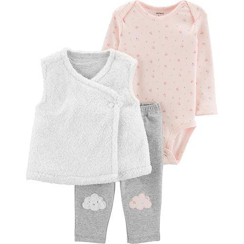 Baby Girl Carter's Cloud Vest, Bodysuit & Pants Set