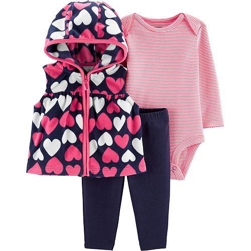 Baby Girl Carter's Heart Vest, Striped Bodysuit & Leggings Set