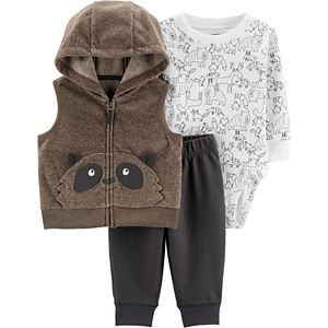 Baby Boy Carter's Raccoon Vest, Bodysuit & Pants Set