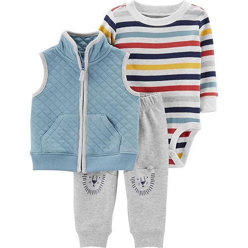 Baby Boy Carter's Quilted Vest, Striped Bodysuit & Bear Pants Set