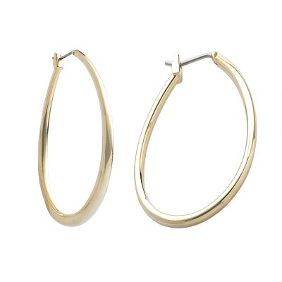 Trifari Gold-Tone Oval Hoop Earrings