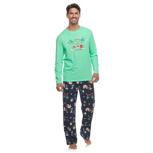 Men's Jammies For Your Families Flip Flop Holiday Family Tee & Pants Pajama Set