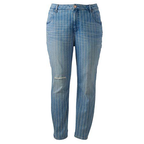 Plus Size LC Lauren Conrad The Striped Mom Jean