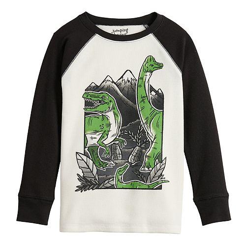 Boys 4-12 Jumping Beans® Raglan Thermal Dinosaur Graphic Tee