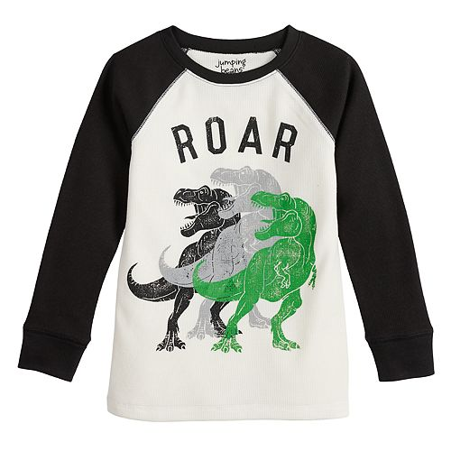 Boys 4-12 Jumping Beans® Raglan Thermal Dinosaur Roar Graphic Tee