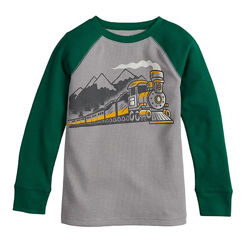 Boys 4-12 Jumping Beans® Raglan Thermal Train Graphic Tee