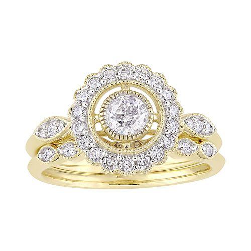 Stella Grace 10k Gold 3/4 Carat T.W. Diamond Halo Engagement Ring Set