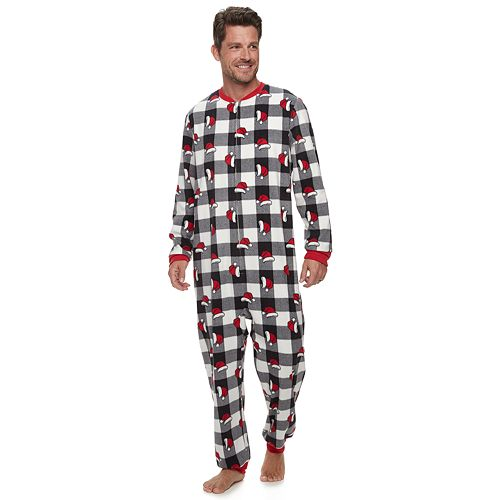 Men's Jammies For Your Families Jolly Santa Family Microfleece One-Piece Pajamas