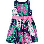 Toddler Girl Carter's Sateen Floral Ribbon Bow Dress