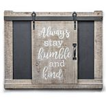 Crystal Art Gallery Stay Humble & Kind Barn Door Chalkboard Wall Decor