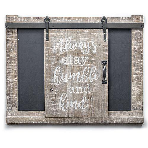 Crystal Art Gallery Stay Humble & Kind Barn Door Chalkboard Wall Decor