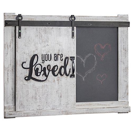 Crystal Art Gallery You Are Loved Barn Door Chalkboard Wall Decor