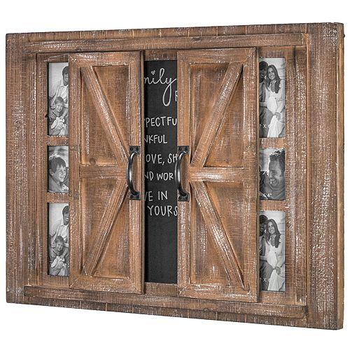 Crystal Art Gallery Barn Door 6-Opening Frame & Chalkboard Wall Decor