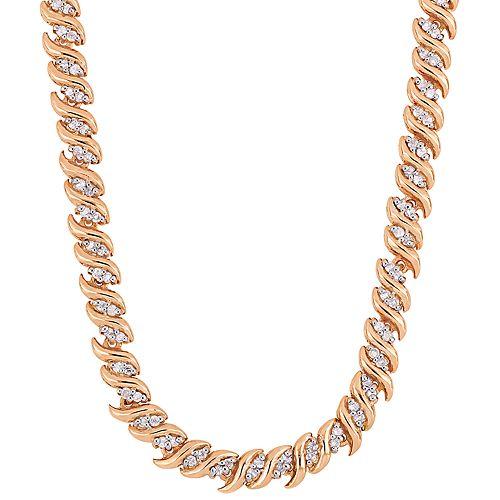 Stella Grace Sterling Silver 1 Carat T.W. Diamond S-Link Tennis Necklace