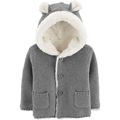 Baby Boy Carter's Sherpa-Lined Hooded Cardigan