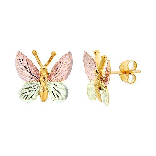 Black Hills Gold Tri-Tone Butterfly Stud Earrings