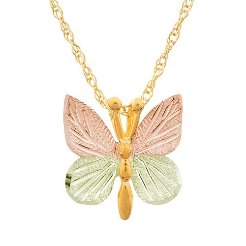 Black Hills Gold Tri-Tone Butterfly Pendant Necklace