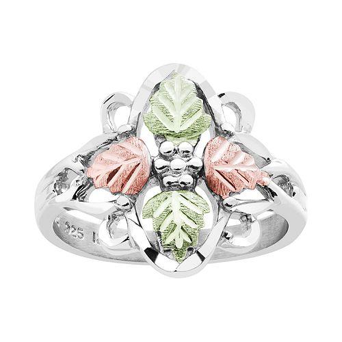 Black Hills Gold Tri-Tone Leaf Ring in Sterling Silver