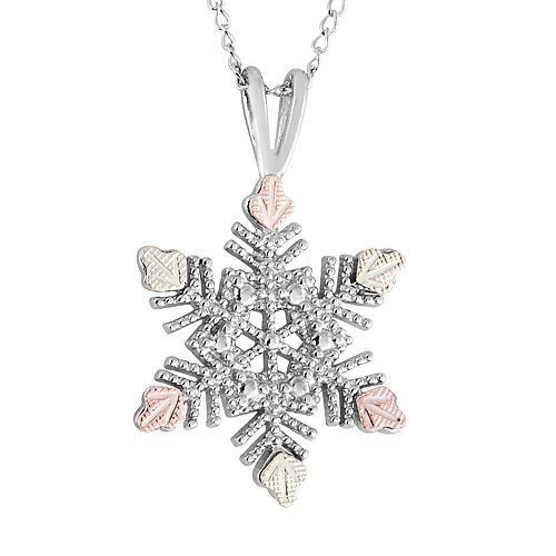 Black Hills Gold Tri-Tone Snowflake Pendant Necklace in Sterling Silver