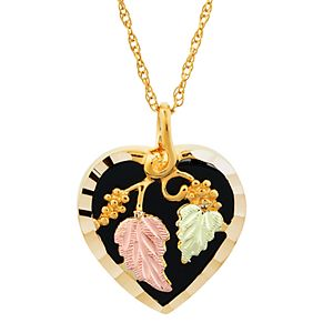 Black Hills Gold Tri-Tone Onyx Heart Pendant Necklace in Sterling Silver