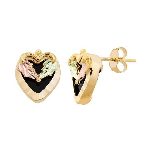 Black Hills Gold Tri-Tone Onyx Heart Stud Earrings