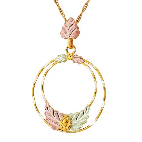 Black Hills Gold Tri-Tone Double Hoop Pendant Necklace