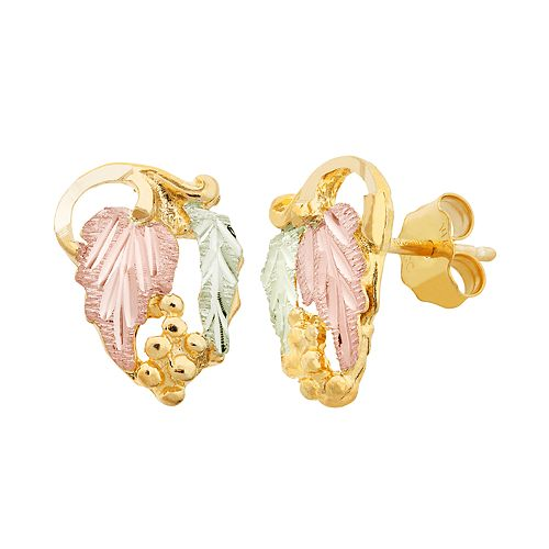 Black Hills Gold Tri-Tone Leaf Stud Earrings