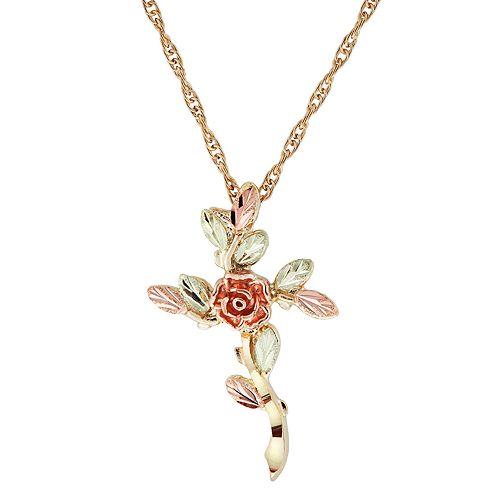 Black Hills Gold Tri-Tone Rose Cross Pendant Necklace