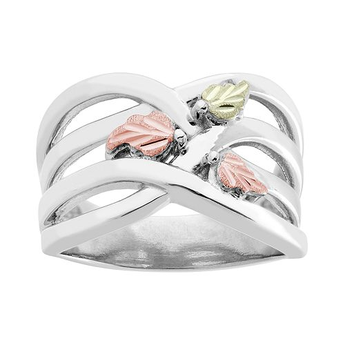 Black Hills Gold Tri-Tone Crisscross Leaf Ring in Sterling Silver