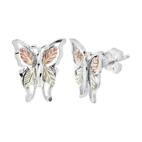 Black Hills Gold Tri-Tone Butterfly Stud Earrings in Sterling Silver