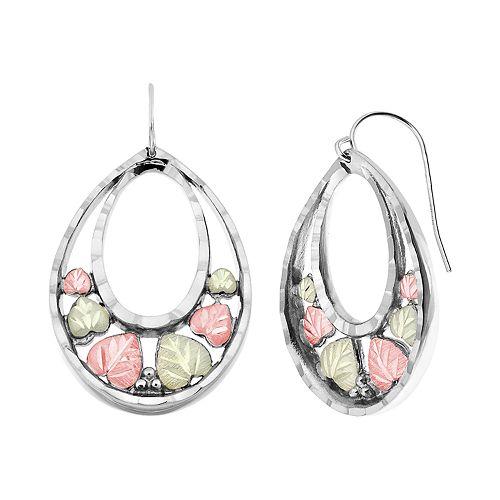 Black Hills Gold Tri-Tone Drop Earrings in Sterling Silver